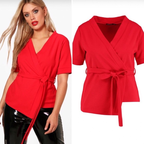 6d96df492dc08 Boohoo Plus Tops | Jennie Wrap Style Short Sleeve Blouse | Poshmark